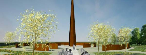 The new Memorial Spire will not have names on it, but on walls around it.