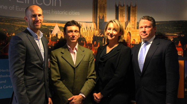(L-R) Director of Brayford Hotels Richard Farrar, President of the Lincoln Area Chamber of Commerce Mark Hollingworth, Director of Development, Communications and Marketing at the University of Lincoln Elly Sample and Member of Parliment for Lincoln Karl McCartney