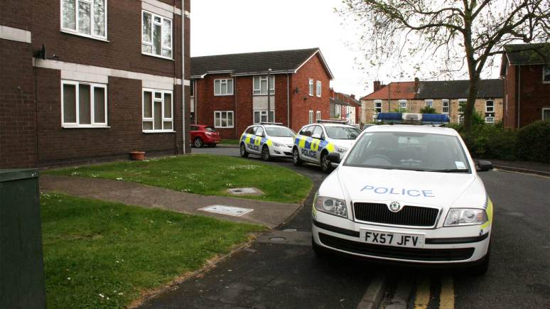Police attending the incident on Hermit Street in Lincoln.