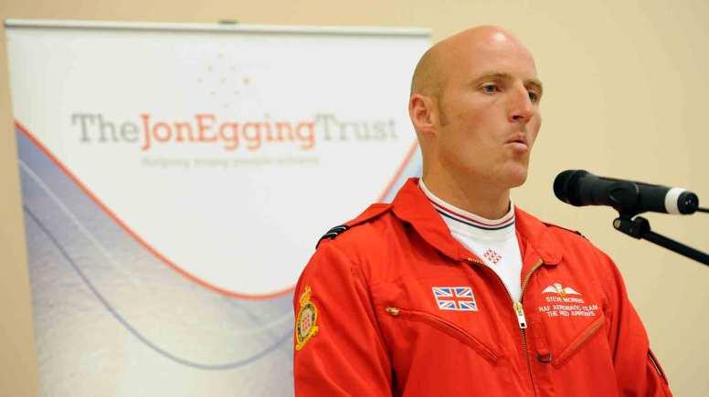 Flt Lt Steve Morris - Red 5, speaking at The Jon Egging Trust's event. Photo: Stuart Wilde