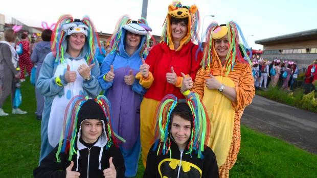 Sharon Roberts (Tigger) with her friends and family at the St Barnabas Lincolnshire Hospice Onesie walk. Photo: Steve Smailes/The Lincolnite