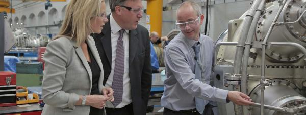 Ed Balls and Lucy Rigby visit the Siemens facilities in Lincoln on June 19, 2014. Photo: Chris Curtiss