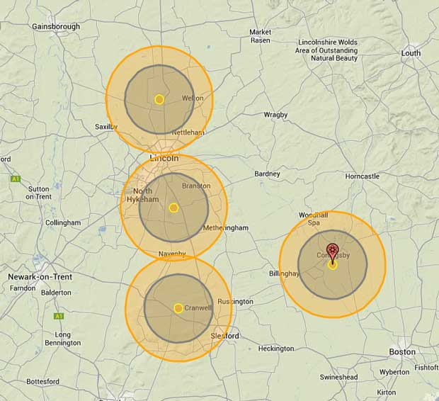 The nuclear fallout in Lincolnshire according to National Archive Cold War nuke targets. Photo: Nukemap by Alex Wellerstein
