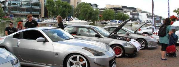Cars on the Lincoln Brayford in the 2014 Lincs:Evolution car show. Photo: Emily Norton for The Lincolnite