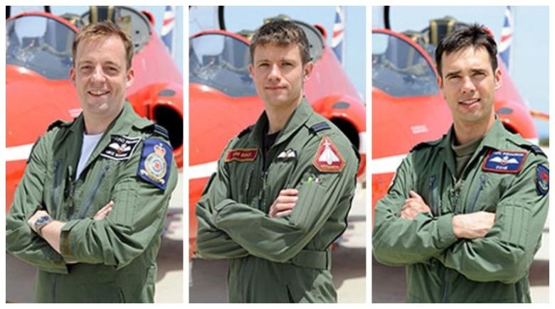 (L-R) Flight Lieutenant Michael Bowden, Flight Lieutenant Thomas Bould  and Flight Lieutenant Emmet Cox. Photos: MOD