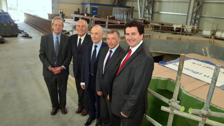 Helping Lincoln grow (L-R): City Council Leader Ric Metcalfe, Giuseppe Saretta and Bifrangi Owner Francesco Biasion, , Bifrangi UK director Barry Jackson, and City Council Chief Executive Andrew Taylor. Photo: Steve Smailes/The Lincolnite