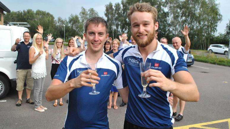 Oli Phillips (25) and Sam Mosedale (26), who work at Duncan & Toplis' Lincoln office.
