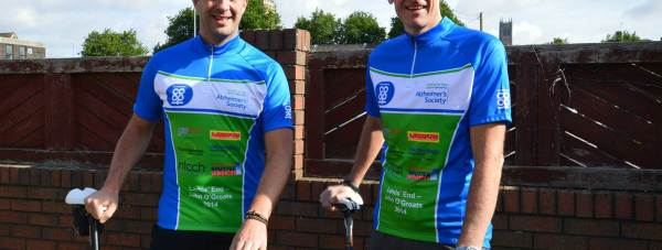 Roger brown and Andrew Turner prepare for their bike ride.