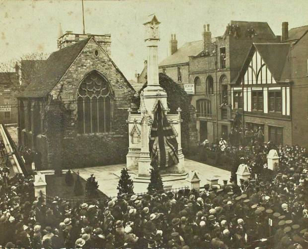 The unveiling of the war memorial in St Benedict's Square in Lincoln in November 1922.