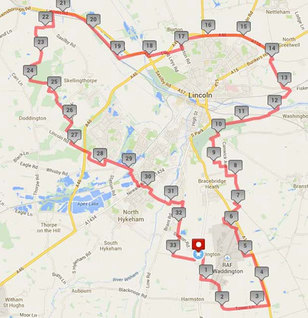 The route map for the Beating the Bounds charity walking challenge.