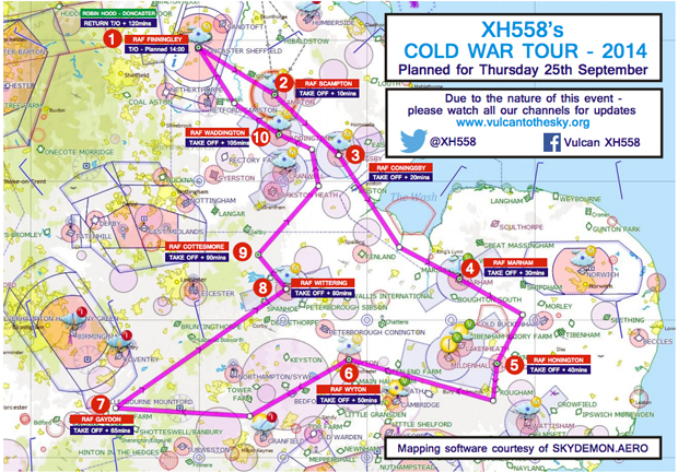 The Cold War Tour route, which will take place on September 25.