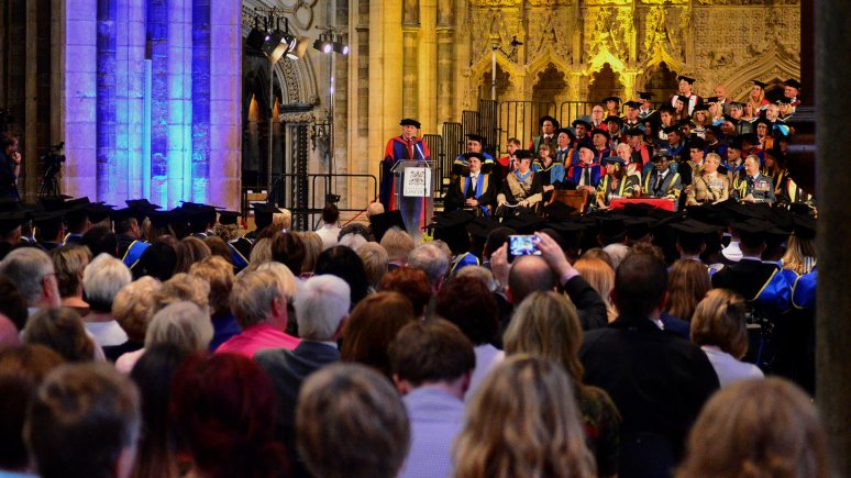 Julian Fellowes at the University of Lincoln graduation ceremony on September 10, 2014. Photo: Steve Smailes for The Lincolnite