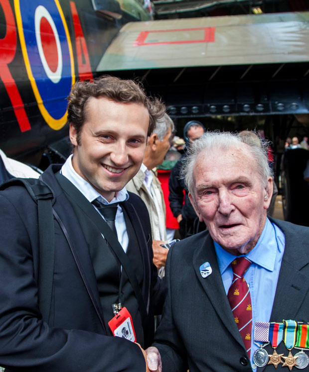 Lincoln Photographer Sean Strange with Squadron Leader George 'Johnnie' Johnson.