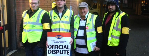 PCS workers formed picket lines outside Lincoln DWP offices.