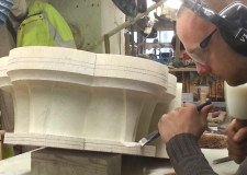 Adam working on the 'Barrel Capital' during Lincoln Cathedral restoration works.