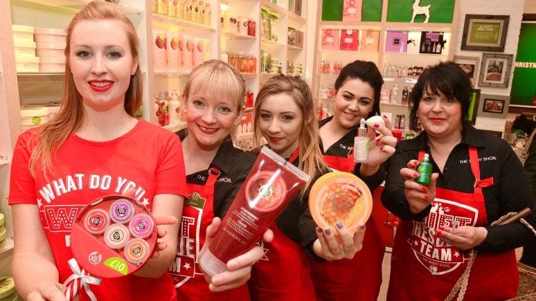 Staff at the new-look Body Shop store in Lincoln's Waterside Shopping Centre. Photo: Steve Smailes for The Lincolnite