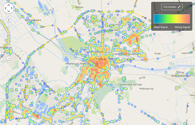 Map shopping all providers' combined 2G, 3G and 4G coverage by crowdsourced data.