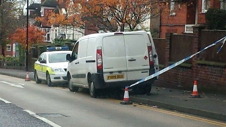 Police investigating the scene on The Avenue/Yarborough Road. Photo: Ben Litler