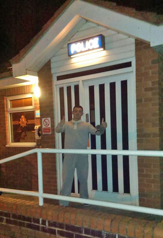Wanted man Aaron Bee also went to the Saxilby Lincolnshire Police Station to pose.
