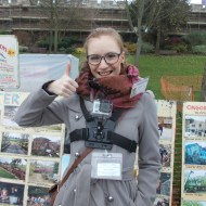 Reporter Emily Norton recording her tour of the Lincoln Christmas Market on the GoPro. Photo: Pauline Zelder