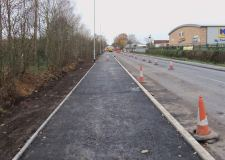 The Station Road footway and cycle path is nearing completion in Lincoln.