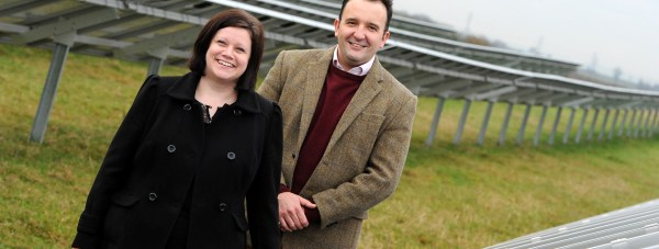 Freewatt Solar PV, Chief Executive, Julian Patrick and Managing Director, Amanda Legate at the firm's current solar farm