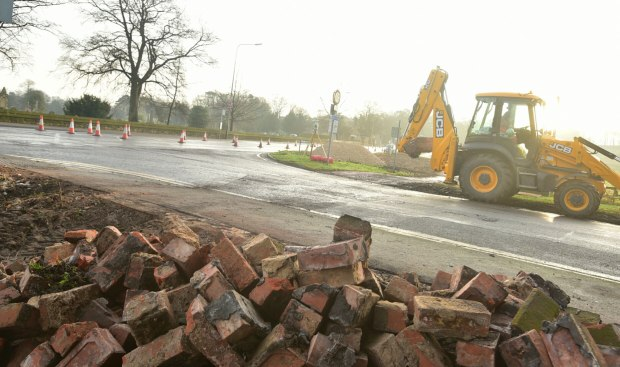 The roadworks to improve access to Canwick Road in Lincoln. Photo: Steve Smailes for The Lincolnite
