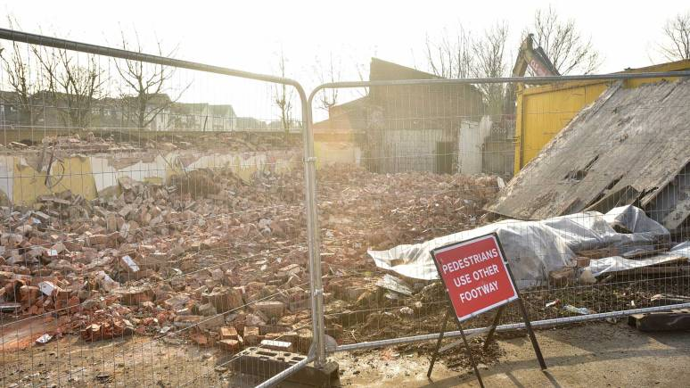 Demolitions are underway to make way for the new road. Photo: Steve Smailes for The Lincolnite