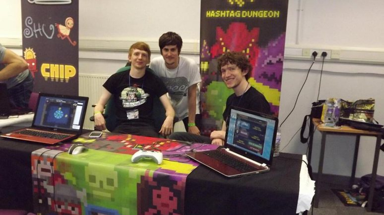 Developers for Hashtag Dungeon Kieran Hicks and Sean Oxspring, with music creator Tom Manning (middle).