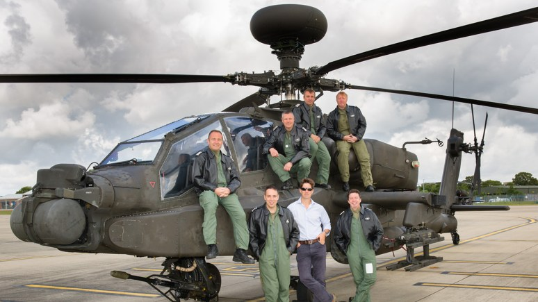 Inspire Limited Helicopter Services Division, (Back L-R) Tom O'Malley, Jim Hiscocks, Chris Mulhall, Gary Smith (Front L-R) Chris Raynes, Jonny Priest DFC and Jan Ferraro