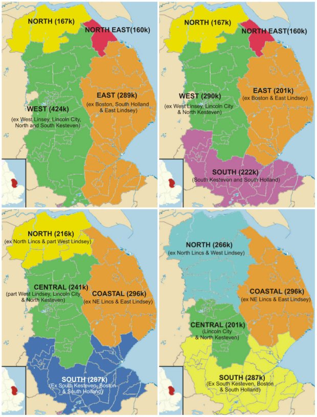 Possible models for unitary authorities in Lincolnshire. Illustrations: Jim Charters