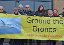 Protestors against the use of drones at RAF Waddington.