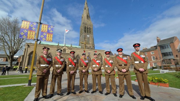 The soldiers of 2 (Leicestershire and Lincolnshire) Company,  3rd Battalion The Royal Anglian Regiment based at Sobraon Barracks, joined four Leicester based soldiers to act as step-liners at the service that was broadcast around the world.