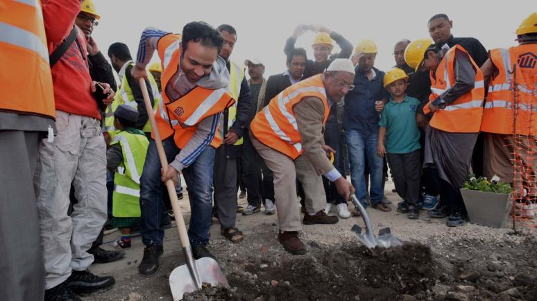 The ground-breaking ceremony on the site of the new mosque join 2015. Photo: Steve Smailes for The Lincolnite
