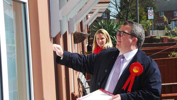 Tom Watson and Lucy Rigby door knocking in the Glebe area of the city on April 13