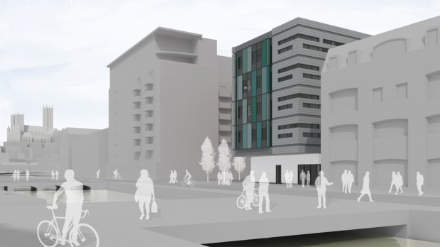 The building sits south of the Brayford Level crossing. Artist's impression: Faulkner Browns Architects