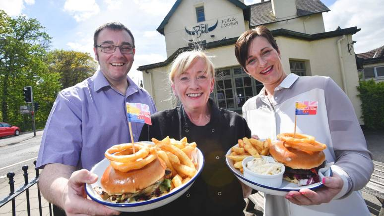 Theresa Bowles and Kieron Hover, managers at the pub with Chef Deborah Boyle (middle). Photo: Steve Smailes for The Lincolnite