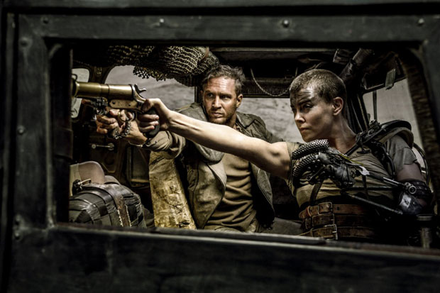 Charlize Theron and Tom Hardy in Mad Max: Fury Road (2015). Photo by Jasin Boland / Warner Bros. Entertainment Inc