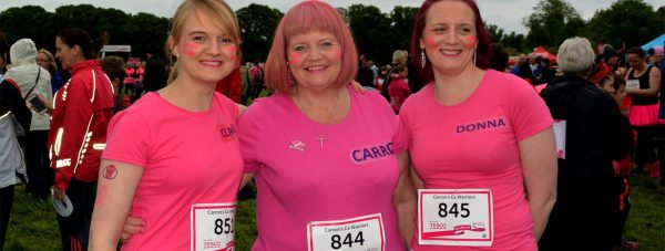 Carron Smith (centre), with her daughters Claire (left) and Donna (right)