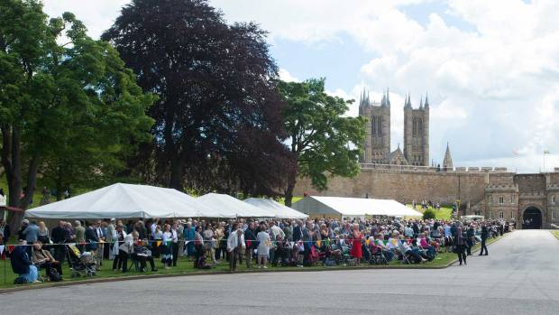A crowd of around 500 people gathered at the Lincoln castle grounds for the historic event. Photo: Steve Smailes for The Lincolnite