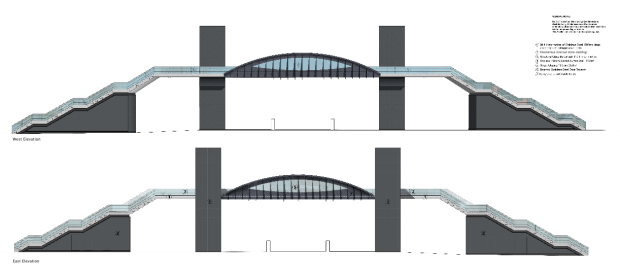 The new bridge designs are narrower and have lighter lift tower materials.