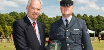 RAF Waddington Cpl Sam Plant  receiving his third place award from duos across the UK. Photo: RAF Waddington