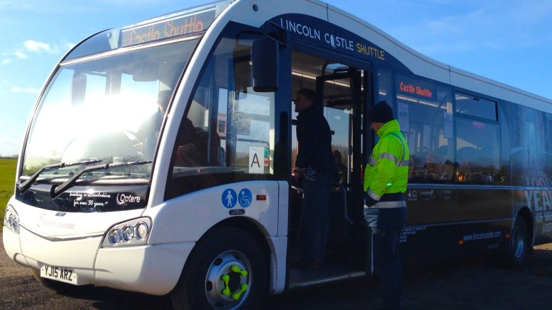 One of the Lincoln Castle shuttle buses introduced for the Lincoln summer season of events.
