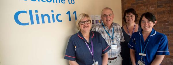 Sandra Hayes, Acting Clinical Nurse Manager for the hospital's outpatients department, Roger Thorley, ULHT trust member, Sarah Brown, Outpatients Programme Lead and Donna Briggs, a sister in Clinic 11. Photo: Steve Smailes for The Lincolnite