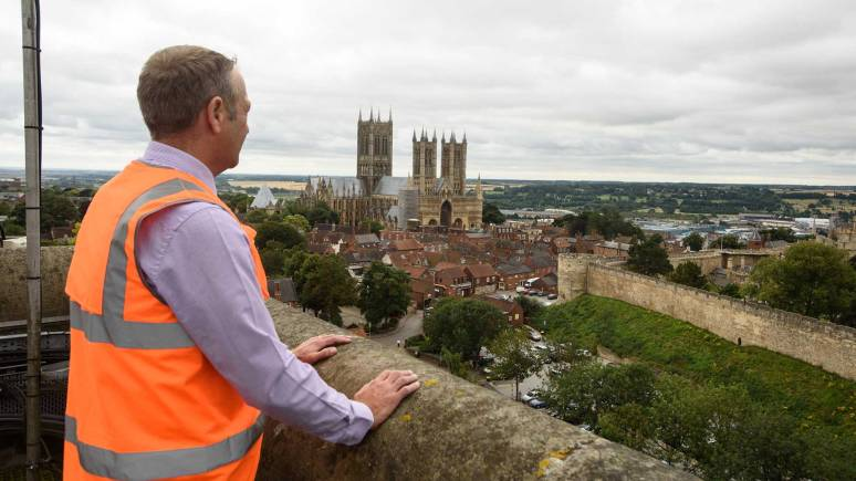 What a workplace! Anglian Water's Jon Pawson looks after the building. Photo: Steve Smailes for The Lincolnite