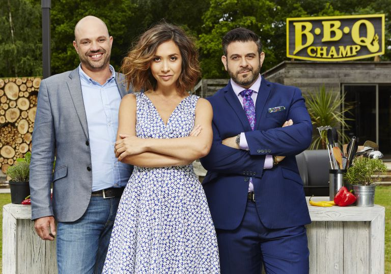 Adam Richman (right) is now starring in the new ITV show BBQ Champ alongside Myleene Klass and Mark Blatchford. Photo: ITV