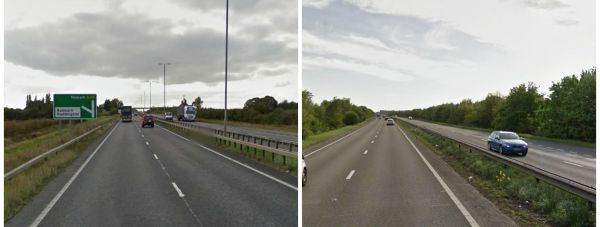 In under 24 hours, two cars came off the road along the A46 Lincoln bypass. Photos: Google Street View.