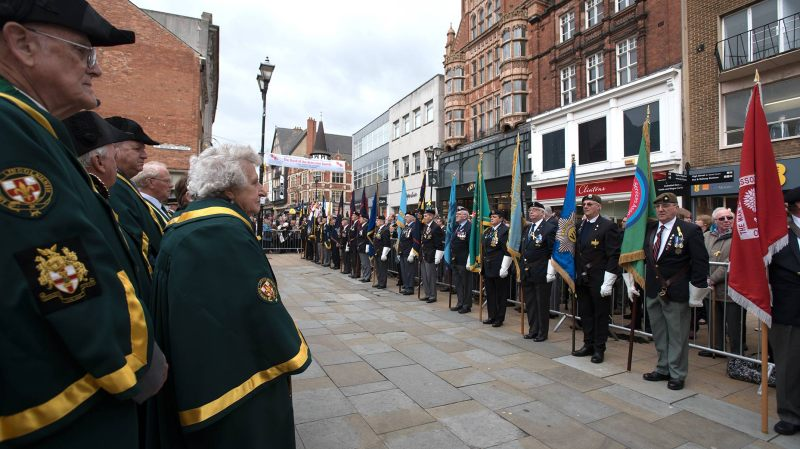 People in Lincoln gathered for a memorial service on High Street.