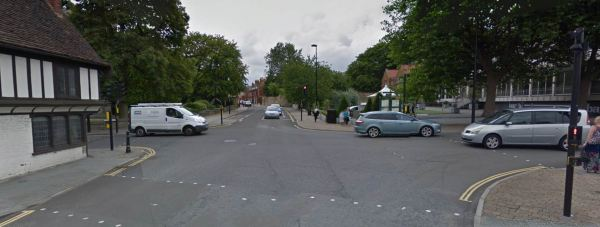 The road rage incident happened at the junction near to the Lincoln hotel. Photo: Google Street View.
