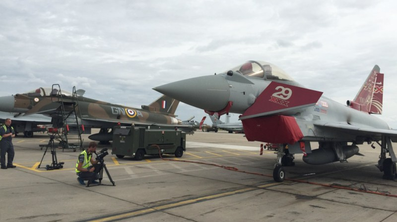 A film crew get pictures of RAF Typhoon jets, which are based at RAF Coningsby, Lincolnshire, for a new BBC documentary series. Photo: MoD/Crown Copyright 2015
